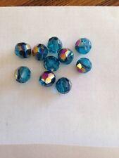 10 8mm Facetted Glass Aqua Marine AB FINISH Beads L@@K SALE # 15