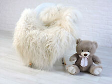 REAL ICELANDIC SHEEPSKIN RUG WHITE FUR RUG CURLY HAIR RUG CHAIR COVER  421