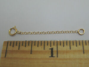 """14K Yellow Gold 1.5"""" Thin Cable Chain Extender Split Ring for Necklace Bracelet"""
