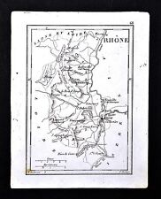 1833 Perrot Tardieu Map - Rhone Lyon Villefranche St. Laurent Tarare Anse France