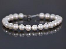 Mikimoto 18ct Oro Blanco A1 6-6.5mm Akoya PERLA hilos Diamante 7in Pulsera