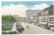 Postcard IN Marion Indiana West Side Of Square Linen Old Cars