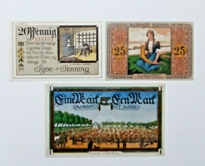 TONDERN (DENMARK TØNDER) NOTGELD 20, 25 PFENNIG, 1 MARK 1920 GERMANY (13786)