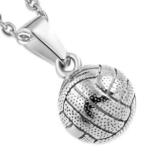 Stylized 316 Stainless Steel VOLLEYBALL Pendant jewelry w/stainless steel chain!