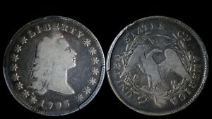 1795 $1 FLOWING HAIR SILVER DOLLAR  2 Leaves PCGS VG10 Early US Type B-1 BB-21