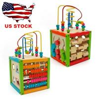5 in 1 Learning Wooden Bead Maze Cube Activity Center Kids Toys Xmas Gifts