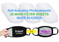Self-Activating Photocatalystic Face Mask Filter, 30 Sheets, Ships From USA