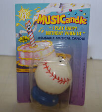 Musicandle Reusable Musical Birthday Candle Cake Topping Baseball NOS 1997