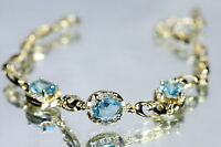 3 Oval Aquamarine Yellow Gold Bracelet 17 - 19.5cm / 6.69 - 7.67 inches