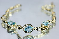 3 Oval Created Aquamarine Bracelet 17 - 19.5cm / 6.69 - 7.67 inches