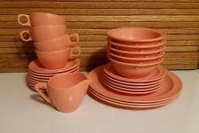 Melmac Vtg 27 Pc Prolon Ware Plates Cups Saucers Bowls Creamer Peach Coral MCM