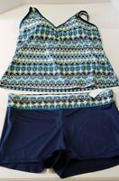 South Point Women's Plus Size 24W Tankini 2 Pieces Swimsuit $100