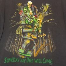Skeleton Hunting T Shirt Black Some Day My Deer Will Come Size XL Stained Mens