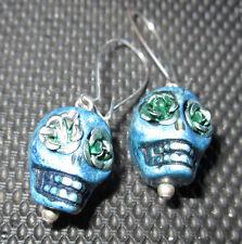 Blue Stone Skull Earrings Roses