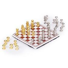 Vintage Dollhouse Miniature Artist Metal Chess Board Set Play Game Toys 1:12