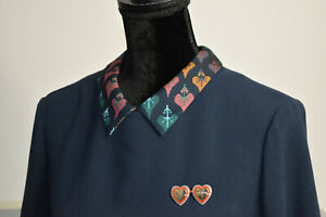 Ted Baker Size 3 8/10 Navy Shift Dress Removable Hearts Pin Pockets Logo Buttons