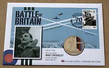 BATTAGLIA Gran Bretagna 70th ANNIV 2010 MERCURIO COVER CON £ 5 Mike Crossley JERSEY Coin