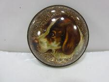 Vintage Concave Glass Dog- Bridle Medallion- Missing Back Loop