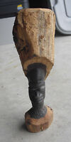 "Vintage Hand Carved Wood Tribal Man Statue 8 1/4"" Tall"