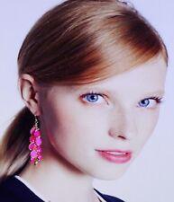 RARE! Kate Spade FLO PINK Crystal Petal Pusher DROP CLUSTER EARRINGS FACET GEMS