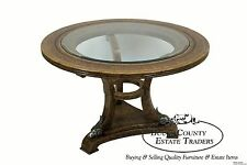Maitland Smith Leather Clad Large Round Regency Style Center Table w/ Rams Heads