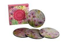 Floral Glass Coaster Set of 4 Round Coasters Summer Meadow Decorative Glassware