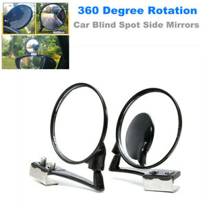 Car SUV Blind Spot Mirrors Left + Right 360 Degree Rotation Wide Angle Lens View