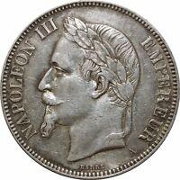 O274 5 Francs Napoléon III 1870 A Paris Argent Silver > Faire Offre