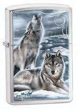 Zippo Windproof Lighter, Chrome W/ Wolves, Mazzi Winter, 28802, New In Box