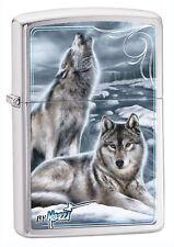 Zippo Windproof Lighter, Chrome W/ Wolves, Mazzi Winter, 28002, New In Box