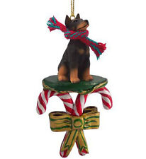 Doberman Pinscher Black Dog Candy Cane Christmas Ornament Holiday Xmas gift pet