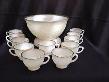 Vtg Anchor Hocking White Gold Sandwich Milk Glass Punch Bowl Set 11 Cups & Base