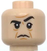 Lego New Light Flesh Minifigure Head Dual Sided Black Eyebrows Scowl Frown Mad