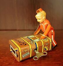 Working with Key, Vintage Wind-Up Tin Toy Express Boy Bell-Hop With Luggage