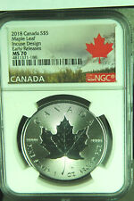 2018 $5.00 CANADA 1 OUNCE .9999 FINE SILVER MAPLE LEAF NGC CERTIFIED MS-70