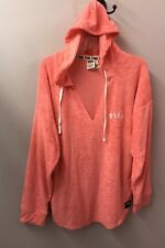 Victorias Secret L XL Hoodie NWT Boyfriend Bright Coral Terry Cloth Beach