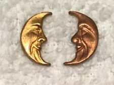 VINTAGE MAN IN THE MOON FACE BRASS STAMPINGS MATCHED SETS 12 PCS