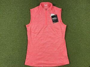Women's PUMA Mockneck Sleeveless Golf Polo Pink Heather SZ S ( 595829 21 )
