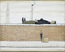 L.S. Lowry Man Lying on a Wal Giclee Canvas Print  Poster Reproduction