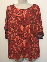 Worthington Women's XL Tunic Top Red & Orange Short Bell Sleeve Stretch Shirt