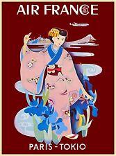 Japan Japanese Paris Tokyo Geisha Asia Vintage Travel Advertisement Poster