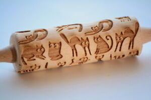 Engraved rolling pin wooden ANY PATTERN cat heart horse laser cut embossing pin