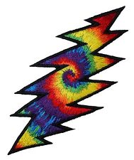 Smaller Grateful Dead Tie-Dye Lightning Bolt Rock Band Iron On Applique Patch