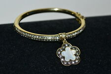 "NIB $95 HEIDI DAUS *Easy Does It"" MOP Crystal DAISY Charm Bangle Bracelet M/L"
