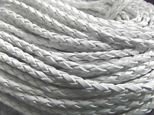 3x3 mm Braided Faux Leather Cords 3 meters jewellery making WHITE