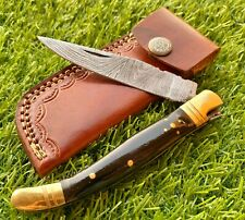 4.625 DAMASCUS STEEL FRENCH LAGUIOLE POCKET KNIFE,FOLDING KNIFE BUFFALO HORN 829