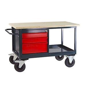 Werkbank mobil mit 3 Schubladen und Ablageboden Werktisch Metalltisch Fahrbar