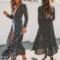 Womens Floral Boho Holiday Long Maxi Dress Long Sleeve Cardigans Loose Tops