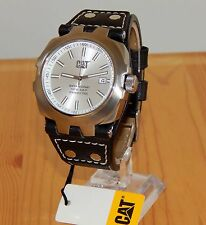 New Mens Caterpillar Silver CAT YE14135222 Black Leather Strap Analog date Watch