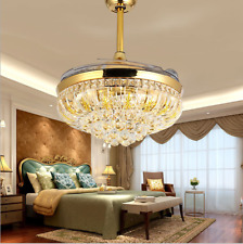 """42"""" Invisible Gold Crystal Ceiling Fan Light Led Chandelier Pendant Lamp Decor"""